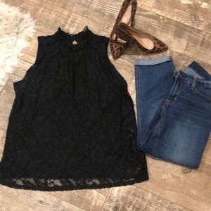 Cable and Gauge Sleeveless lace top